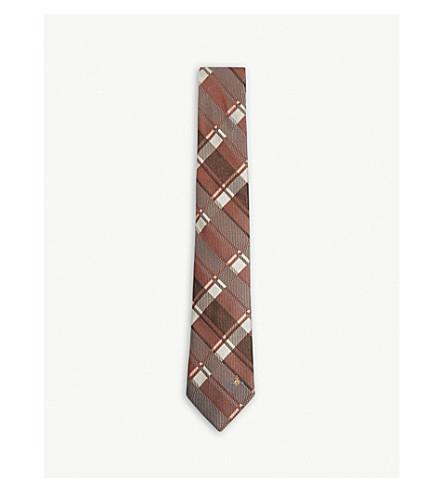 VIVIENNE WESTWOOD Plaid check silk tie (Orange