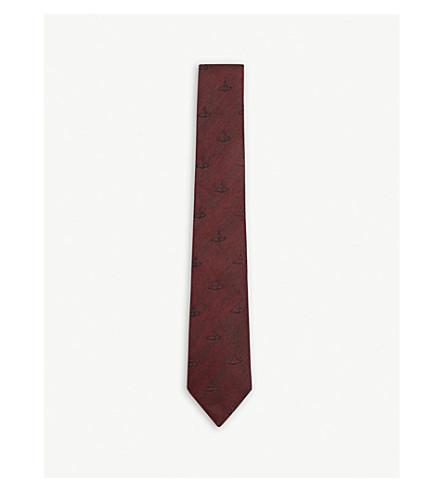 VIVIENNE WESTWOOD Classic orb silk and linen tie (Bordeaux