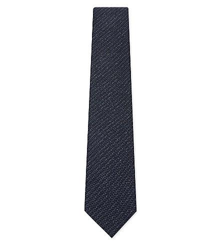 TOM FORD Woven speck silk-wool tie (Blue