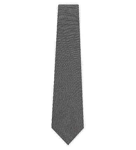 TOM FORD Micro-dash textured silk tie (Black