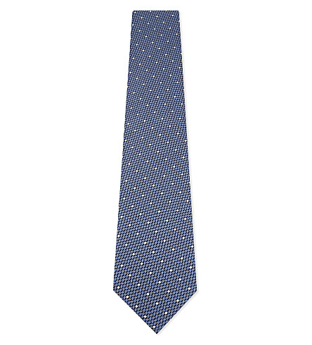 TOM FORD Basket weave spotted silk tie (Bright+blue