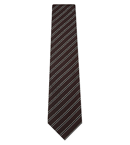 TOM FORD Multi-stripe silk tie (Burgundy