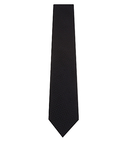 TOM FORD Waffle texture silk tie (Blue