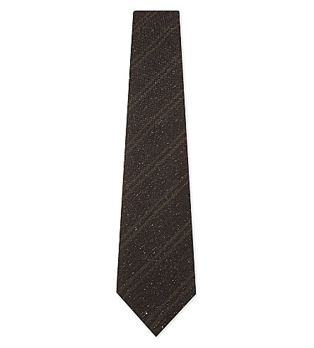 TOM FORD Silk-wool blend striped tie (Brown