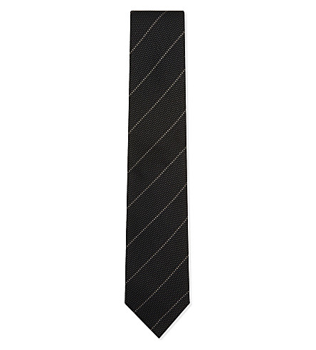 TOM FORD Basketweave striped silk tie (Grey