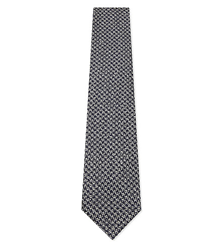 TOM FORD Houndstooth textured silk tie (Blue