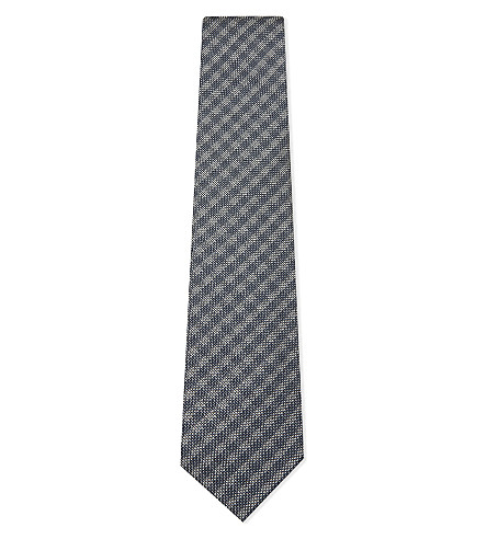 TOM FORD Basketweave stripe silk-wool tie (Blue