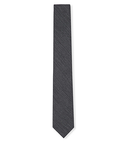 TOM FORD Stripe textured wool tie (Grey