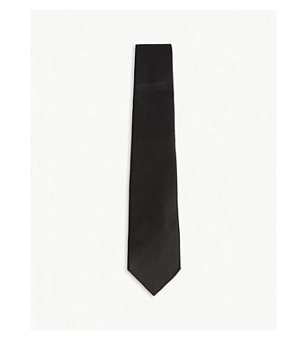 TOM FORD Solid diagonal weave silk tie (Black