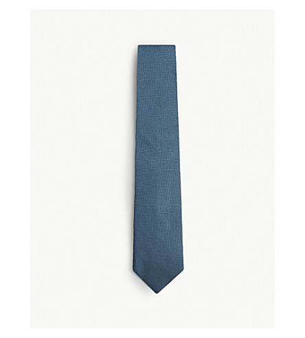 TOM FORD Textured square silk tie (Teal