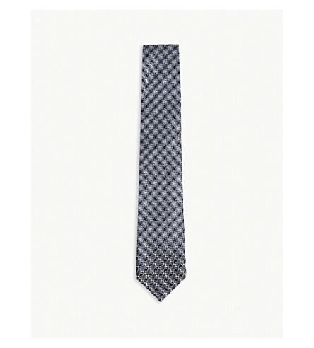 TOM FORD Interlocking houndstooth print silk tie (Blue