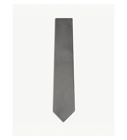 TOM FORD Chevron print silk tie (Grey