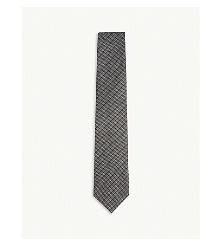 TOM FORD Spotted stripe silk tie (Black