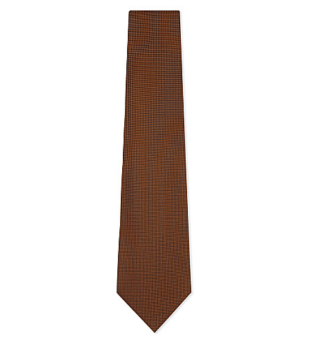 ERMENEGILDO ZEGNA Micro-diamond silk tie (Orange