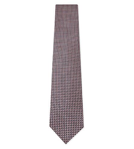 ERMENEGILDO ZEGNA Small squares silk tie (Pink