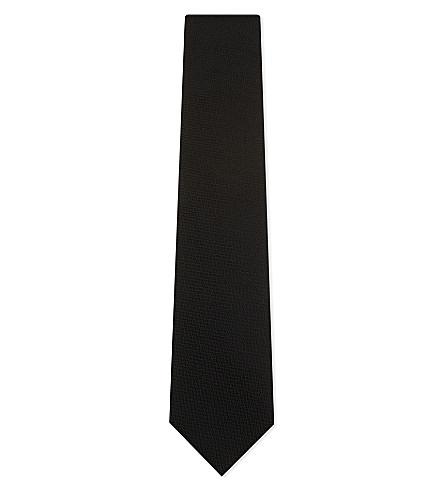 ERMENEGILDO ZEGNA Textured silk tie (Black