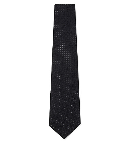 ERMENEGILDO ZEGNA Pin-dot textured silk tie (Black