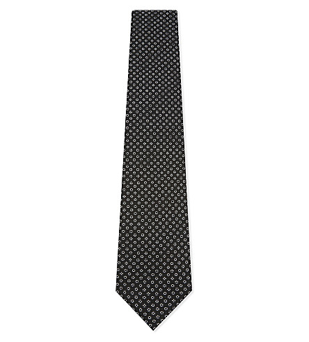 ERMENEGILDO ZEGNA Micro jacquard cross silk tie (Black