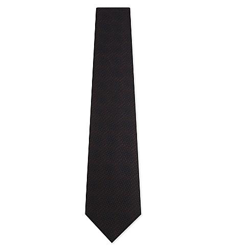 ERMENEGILDO ZEGNA Degrade melange silk tie (Navy/brwn