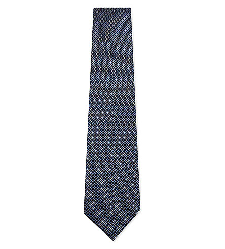 ERMENEGILDO ZEGNA Floral print silk tie (Navy