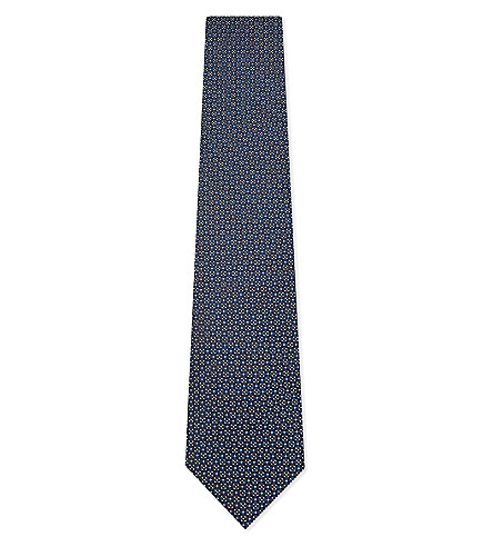 ERMENEGILDO ZEGNA Micro foral silk tie (Teal