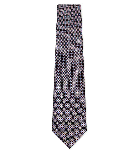 ERMENEGILDO ZEGNA Floral print silk tie (Pink