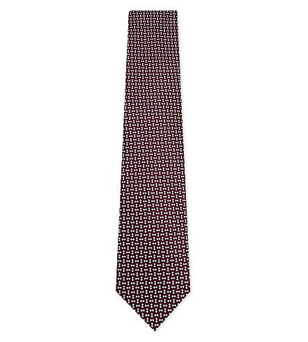 ERMENEGILDO ZEGNA Diamond and squares silk tie (Red