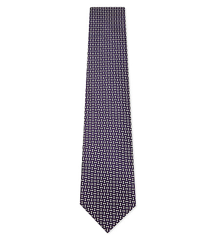 ERMENEGILDO ZEGNA Diamond-square silk tie (Purple