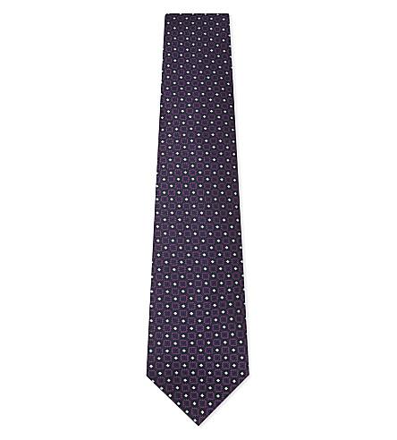 ERMENEGILDO ZEGNA Floral medallion silk tie (Purple