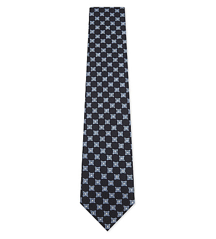 ERMENEGILDO ZEGNA Mixed medallion silk tie (Navy