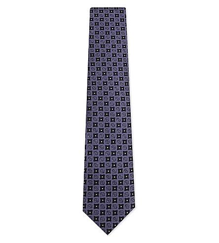 ERMENEGILDO ZEGNA Printed silk tie (Purple