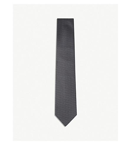 ERMENEGILDO ZEGNA Dot-grid silk tie (Grey