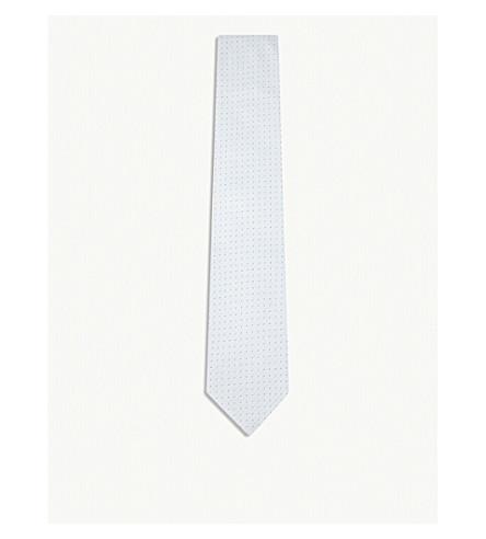 ERMENEGILDO ZEGNA Dot-grid silk tie (Lt+blue