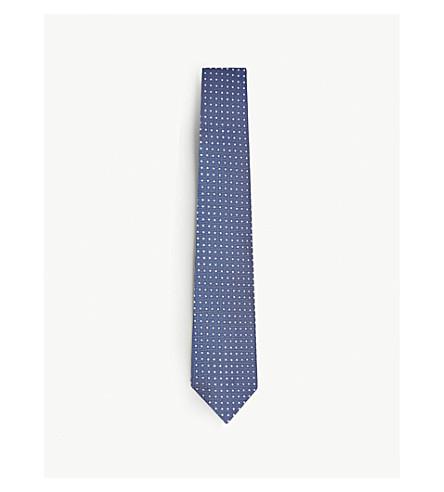 ERMENEGILDO ZEGNA Polka-dot textured silk tie (Blue