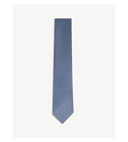 ERMENEGILDO ZEGNA Micro-square silk tie (Blue