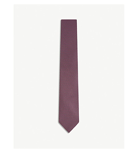 ERMENEGILDO ZEGNA Two-tone pattern silk tie (Pink+3