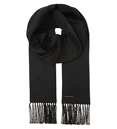 ERMENEGILDO ZEGNA Satin evening scarf (Black