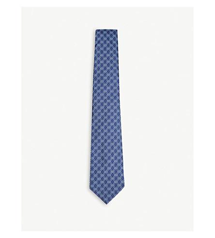 TURNBULL & ASSER Chain link silk tie (Navy+blue