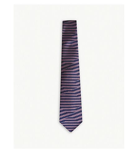 TURNBULL & ASSER Two-tone diamond-stripe silk and cotton tie (Navy+white