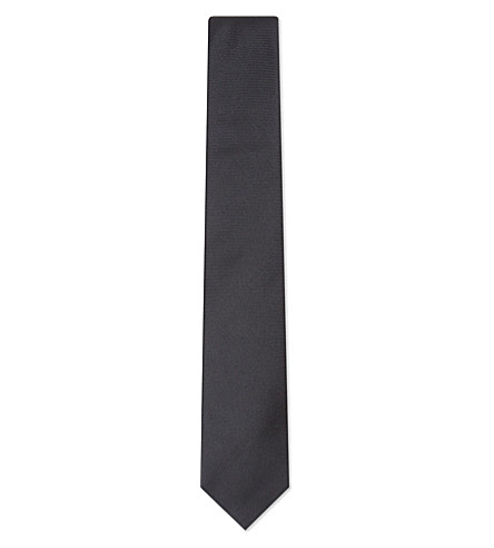 TURNBULL & ASSER Solid twill silk tie (Black