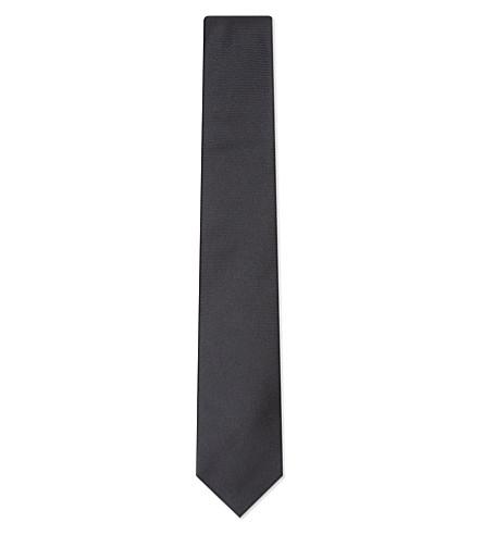 TURNBULL & ASSER Solid twill silk tie (Black