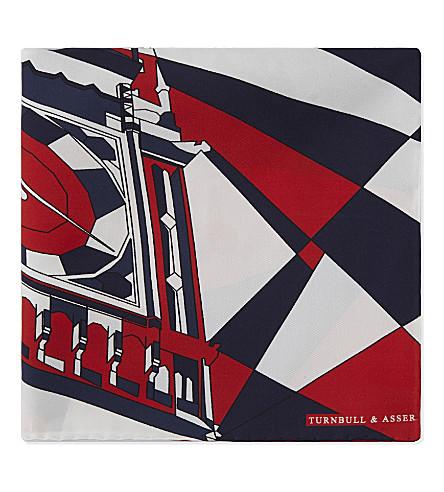 TURNBULL & ASSER Big Ben silk pocket square (Blue/red/white