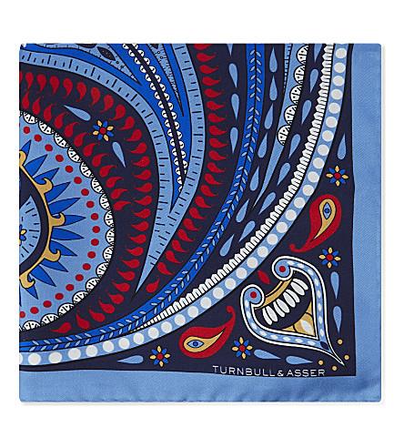 TURNBULL & ASSER Paisley-circle silk pocket square (Blues