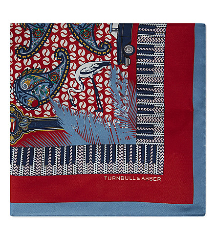 TURNBULL & ASSER Havana and paisley silk pocket square (Red
