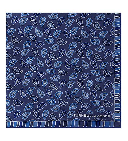 TURNBULL & ASSER 佩斯利丝绸口袋正方形 (蓝色