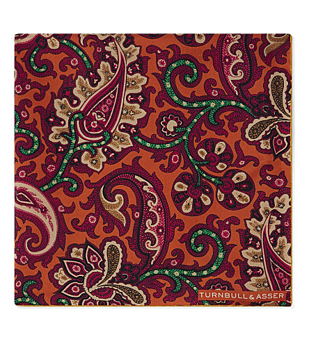 TURNBULL & ASSER Large paisley silk pocket square (Orange
