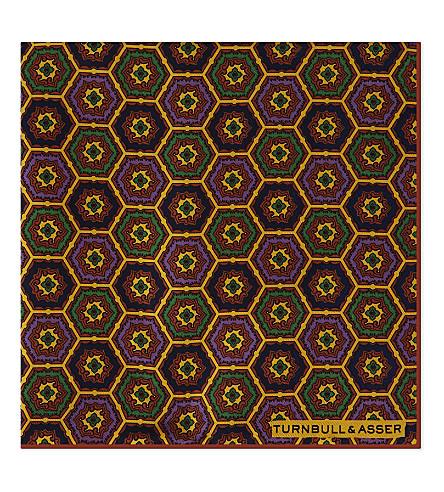 TURNBULL & ASSER 马赛克徽章丝绸口袋正方形 (橙色 + 绿色