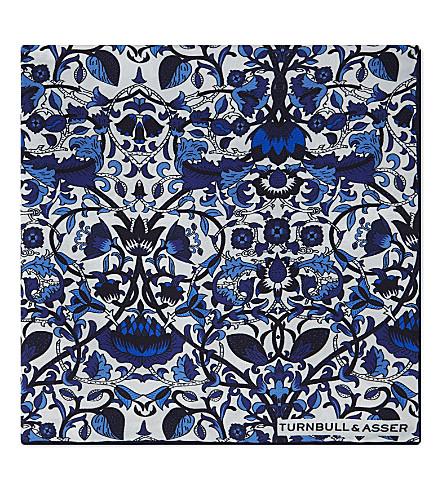 TURNBULL & ASSER Floral mosaic silk pocket square (Blue+white