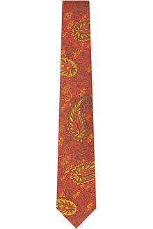 TURNBULL & ASSER Red & gold paisley print silk tie