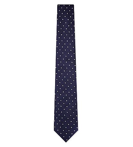 TURNBULL & ASSER Polka dot silk tie (Nvy/wht